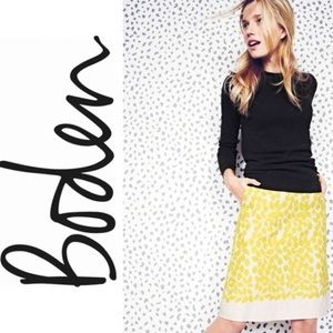 Boden Yellow Embroidered A-Line Skirt Size 10 Ten